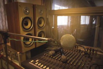 The microphone in the control room audio system of organizations and companies.