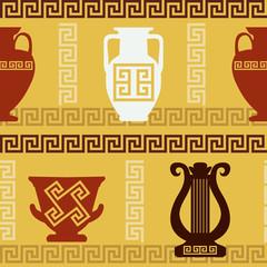Greek art - vases, lyre, meander. Seamless pattern