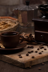 coffee concept with old coffee maker