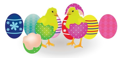 Two chickens coming from Easter eggs, vector