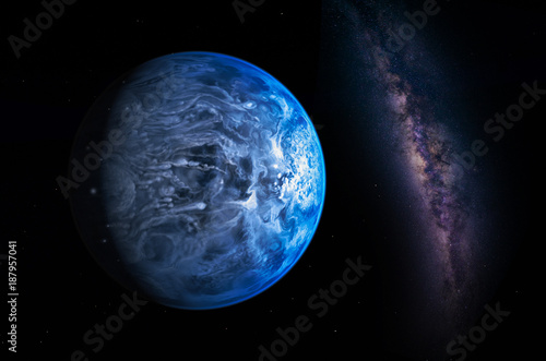 Wall mural Landscape with Milky way galaxy. Earth view from space with Milky way galaxy. (Elements of this image furnished by NASA)