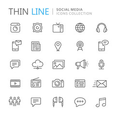 Collection of social media thin line icons
