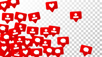 Notifications with Likes, Followers and Comments. Social Media Marketing.