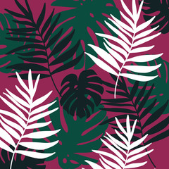 Background with tropical leaves. Perfect design for posters, cards, textile, web pages.