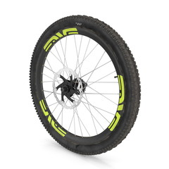 Rear wheel of a mountain bike isolated on white. 3D illustration