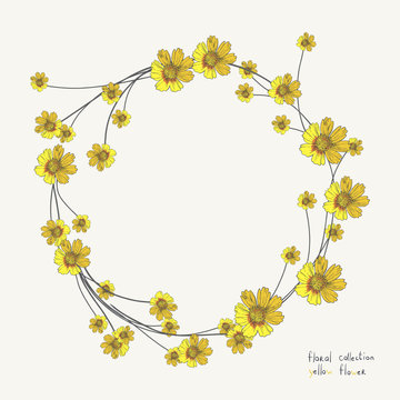 Yellow flower wreath isolated on white. Floral Frame for wedding invitations and birthday cards
