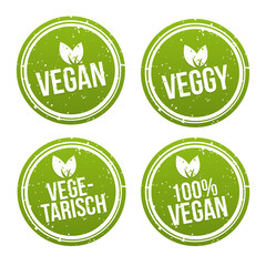 Vegan Button und Vegetarisch Banner Set.