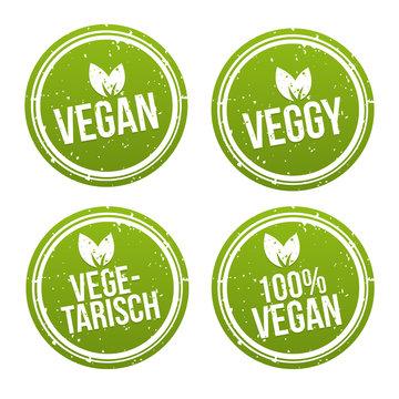 Vegan Button und Vegetarisch Banner Set.