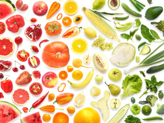 Fototapete - Food texture. pattern of various fresh vegetables and fruits isolated on white background, top view, flat lay. Composition of food.