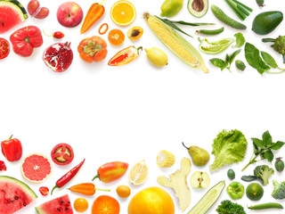 Fototapete - Frame pattern of various fresh vegetables and fruits isolated on white background, top view, flat lay. Composition of food with copy space.
