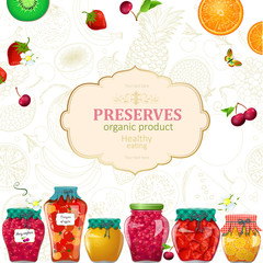 delicious banner with preserving cans of fruits and berries for