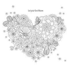 floral heart shape for your coloring book. happy valentines day
