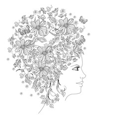 Fototapete - floral portrait of lovely girl for coloring book