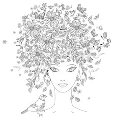 Fototapete - portrait of beautiful girl with flowers on her head for coloring