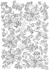 floral ornament with bird and flowers for coloring book