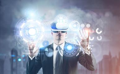 Businessman in VR glasses, HUD