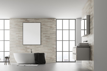 Modern bathroom interior poster white