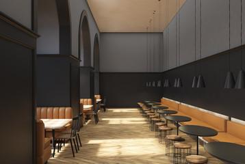 Dark gray cafe interior
