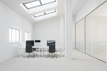 White penthouse open space office front