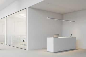 White reception in open space office side view