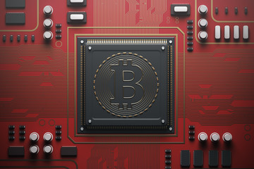Red circuit board with a processor, bitcoin