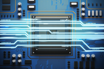 Blue circuit board with a processor, light top view