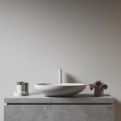 Gray wall and bathroom sink