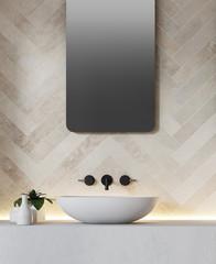 White brick wall and bathroom sink