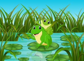 River scene with happy frog on leaf