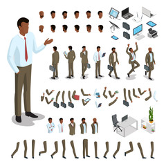 Flat isometric body parts man vector set. Business character