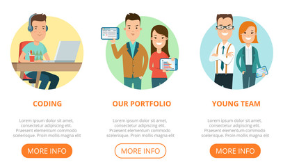 Flat page web design template vector. Business team