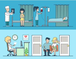Linear flat Hospital clinic vector illustration. Room interior