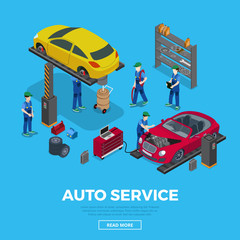 Worker tool workers car repair service 3d flat isometric vector