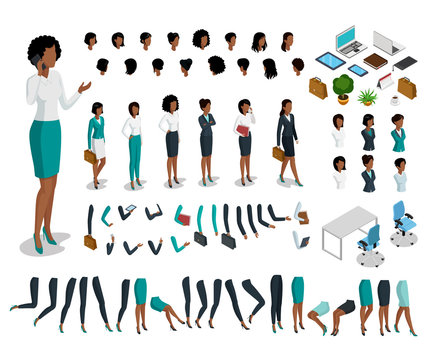 Flat isometric body parts woman vector set. Business character