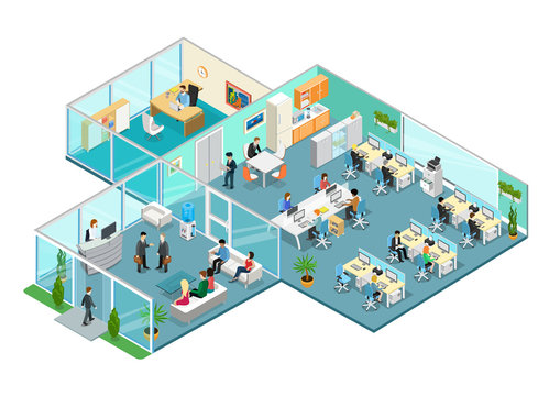 Flat 3d business isometric office interior vector with people