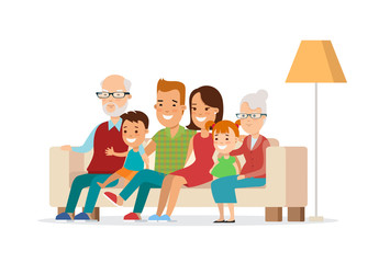 Flat Happy Family watching TV vector illustration. Children