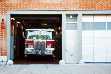 Fire truck in fire station.