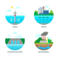 Flat vector alternative energy icon set. Power ecology station