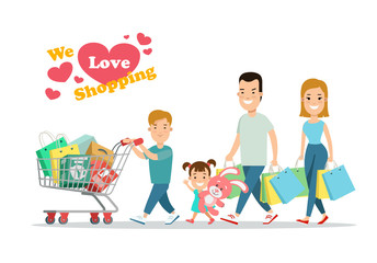 Flat Happy parents children purchases on cart vector. Shopping.