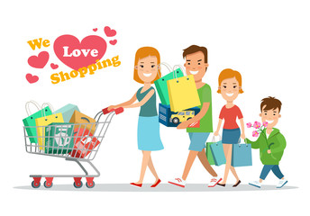 Flat Happy parents children purchases cart vector. Shopping.