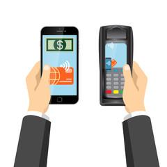 Flat contactless EMV payment credit card POS terminal vector