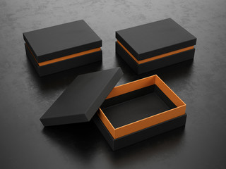 Opened and Closed Black Boxes on black background - Box Mockup, 3d rendering