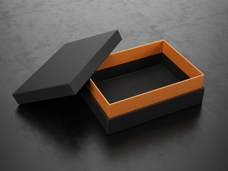 Opened Black Box on black background - Box Mockup, 3d rendering