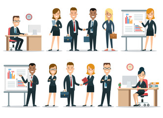Flat business people characters vector icon set