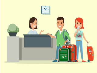 Flat couple baggage in hotel reception vector. Man woman resort