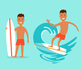 Flat man with surfboard surfing sea wave vector Vacation set.