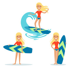 Flat woman with surfboard surfing sea wave vector Vacation set.