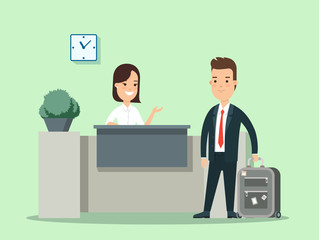 Flat businessman baggage in hotel reception vector illustration