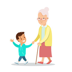 Flat Family character vector grandparents Grandmother grandson