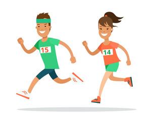 Flat Athlete running runner vector. Man woman jogging marathon